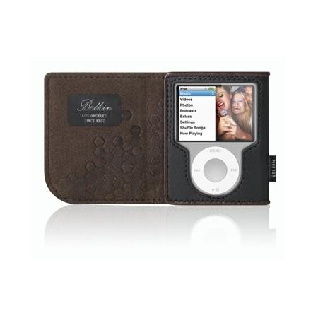 Housse portefeuille en cuir (iPod nano) - Noir/Chocolat